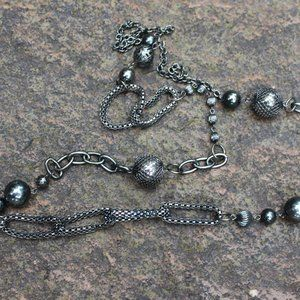 3F25 Long Black Metal Metallic Gunmetal Necklace